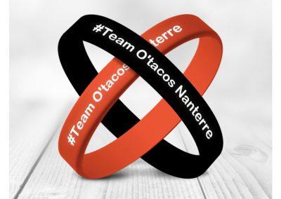 Bracelet en silicone avec incrustation texte et couleur O TACOS