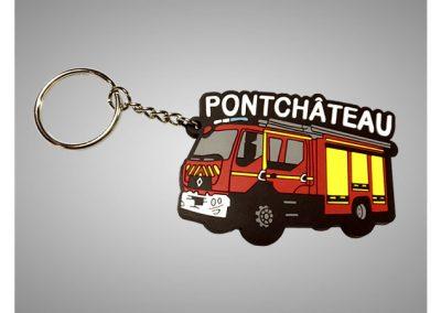 Porte-clés en PVC souple 2D Camion de Pompiers