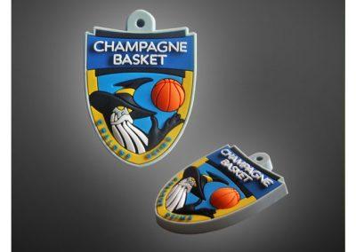 Porte-clés PVC souple relief 3D CHAMPAGNE BASKET REIMS