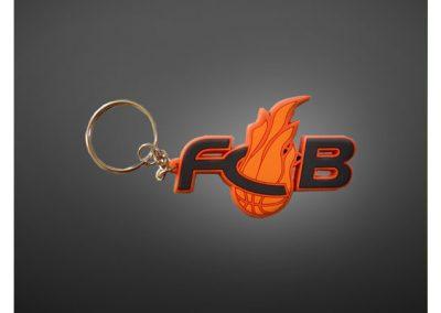 Porte-clés PVC souple relief 2D FCB basketball Les Flammes Carolo