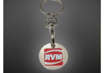 Porte-clés jeton de caddie personnalisé en métal émaillé 2D - Enamel trolley keychain 2D