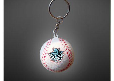 Porte clés balle de baseball en PU antistress personnalisé par impression quadri