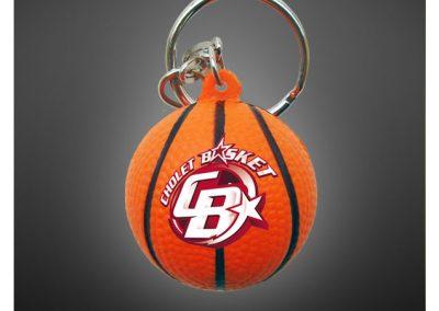 Porte clés ballon de basketball en PU antistress personnalisé par impression quadri