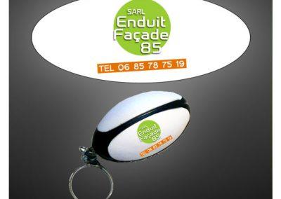 Porte clés ballon de rugby en PU antistress personnalisé par impression quadri