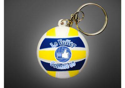 Porte clés ballon de volley en PU antistress personnalisé par impression quadri