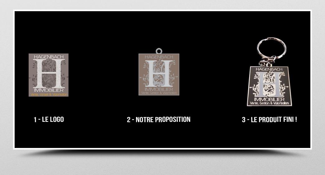 porte-clef en métal émaillé et gravure sur mesure