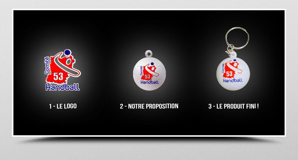 porte-clés ballon de handball personnalisé
