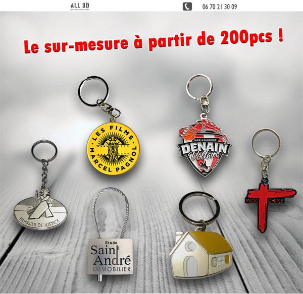 Porte-clés métal émaillé 3D sur-mesure et personnalisé
