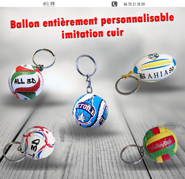 Porte-clés Ballon de football imitation cuir