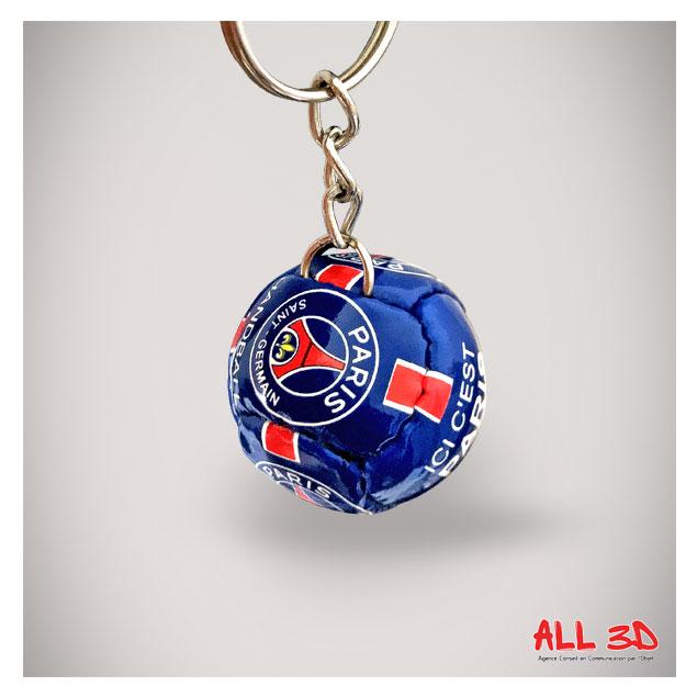 Porte-clés ballon de handball imitation cuir PSG