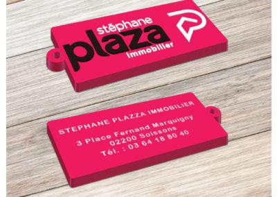 Porte-clés personnalisé en PVC souple injecté relief 2D PLAZZA IMMOBILIER