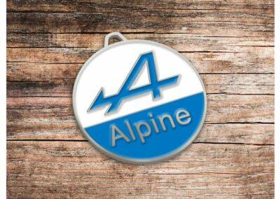 Porte clés en métal émaillé 2D ALPINE RENAULT - Enamel Keychain 2D